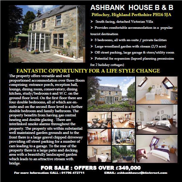 Ashbank House, 14, Tomcroy Terrace, Pitlochry, Perthshire, PH16 5JA, UK